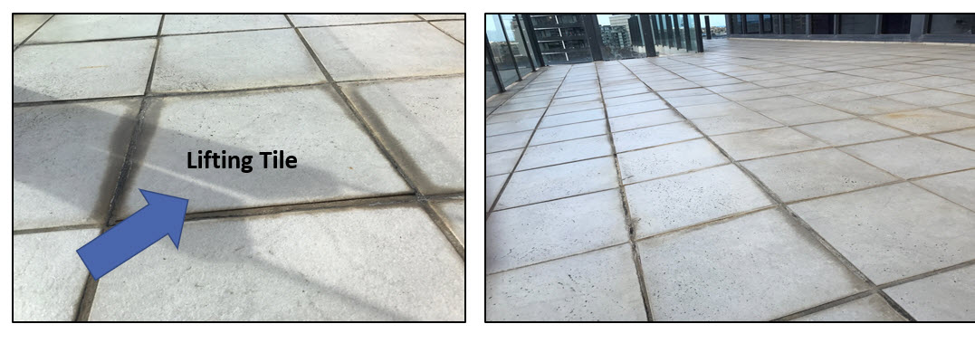 Leaking Balcony Defect Melbourne - lifting tile