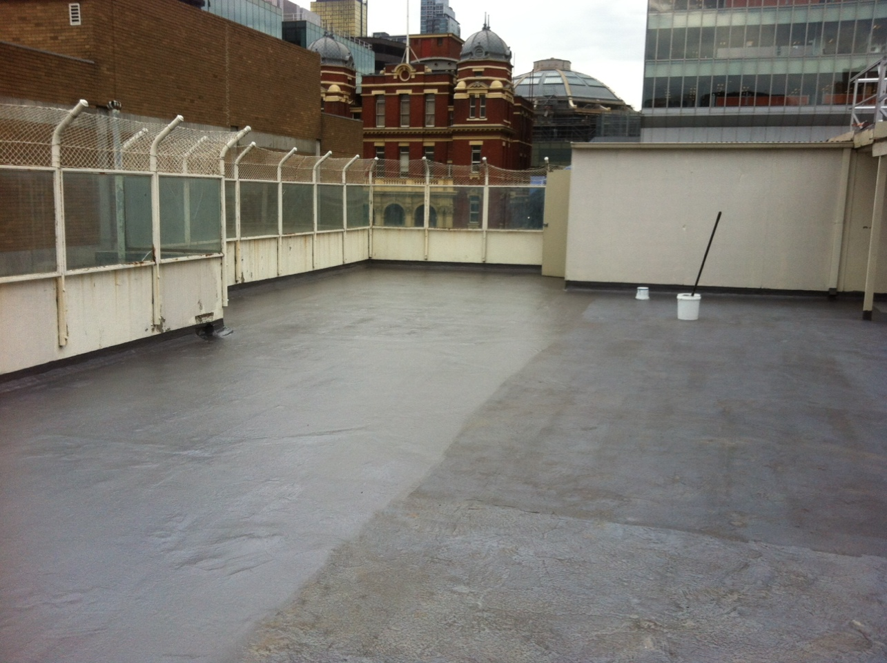 LIQUID RUBBER waterproofing sysmtem for concrete roof slab in Melbourne CBD